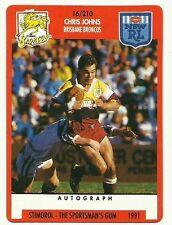 1991 NRL SCANLENS STIMOROL BRISBANE BRONCOS CHRIS JOHNS #16 CARD