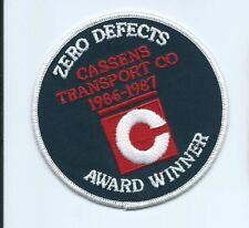 CASSENS (C) Transport Co 1986-1987 zero defects award winner patch 4 in #1195