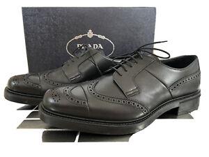 New Prada Men's Black Brogue Oxfords Wingtip Shoes, 10.5 Prada Size