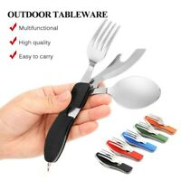 Camping Hiking Stainless Steel Folding Fork Spoon Bottle Opener Cutlery Outdoor