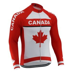 Canada New Men'S Classic Red Maple Leaf Cycling Jersey Long Sleeve Cycling Wear