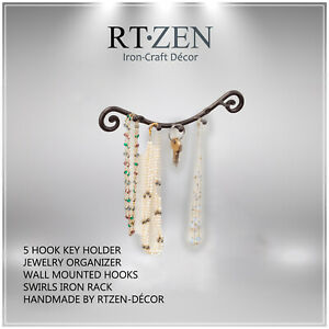 5 Hook Key Holder | Wrought Iron Wall Mounted Hanger | Home Rack Organizer