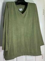 J Jill women Large Pima cotton color washed dipped hem V neck tunic Green New