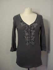 Abercrombie & Fitch grey jersey top with tattered/crochet lace M (10-12)