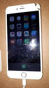 Apple iPhone 6 Plus 64Gb Gold, cracked screen, working, unlocked
