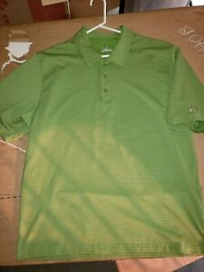 MENS UNDER ARMOUR GREEN STRIPED POLO SHIRT SIZE XL
