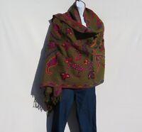 Yak/Sheep Wool Blend|Stitched Embroidery|Shawl|Handcrafted|Nepal|Khaki & Black