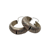 Mexico 925 Sterling Silver Hoop Earrings TR-55 Taxco Tribal Stripe Ethnic Vtg