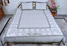 Queen Green Block Print Flower Indian Cotton Bedspread & Pillow Cover Bed Sheet