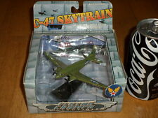 WW#2, USA, C-47 SKYTRAIN -- TRANSPORT PLANE, DIECAST METAL TOY & STAND, Vintage
