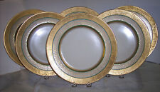 "6 ANTIQUE HUTSCHENREUTHER SELB BAVARIA  FAVORITE 10+"" ENCRUSTED GOLD PLATES FAB"