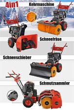 4in1 Benzin Kehrmaschine Schneefräse Schneeschieber Besen Motor E-Start 13PS NEU