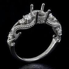 ENGAGEMENT SETTING ROUND DIAMOND VINTAGE STYLE SEMI MOUNT RING 5.5MM - 7.7MM