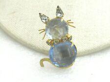 "Vintage Blue Rhinestone Cat Brooch, 1960's, Gold Tone, 1.75"""