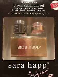 Sara Happ Brown Sugar Gift Set Lip Scrub 1 oz. Lip Slip Glossy Balm .5 oz