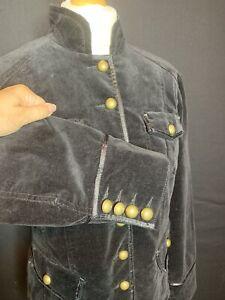 Ladies Black Velvet Military  Cotton  Jacket Size 12 / 14 (D4)