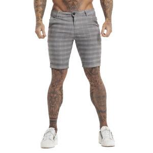 GINGTTO Men Chino Stretch Shorts Summer Casual Gray Slim Fit Check Half Trouser