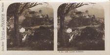 Lourdes Le Château France Photo Stéréo Vintage argentique ca 1920