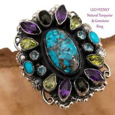 "A+ LEO FEENEY Turquoise Ring ""Dancing FRIDA"" Topaz Sterling Silver Amethyst 8"