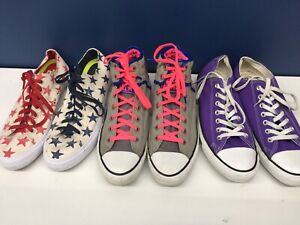 Used LOT 3 Pairs Converse Low Mid Top Sneakers Mens 10 Womens 12 Purple Stars