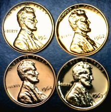 1961 62 63 & 1964 GEM PROOF Lincoln Cent FULL RED 4 Coin LOT w/     NO RESERVE