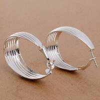 925 Sterliing Silver Dangle Hoop Ear Stud Earrings Fashion Women Jewellery Gifts