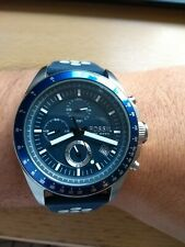 Fossil Mens Chronograph Watch Navy Blue Will Blue Silicone Strap