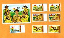 SUPER Set 1982 Baden-Powell 75th World Aniv Boy Scout Stamp GHANA 5 Imprf S/S +3