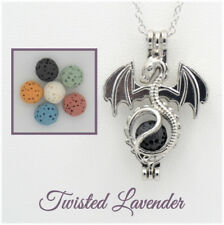 Dragon Aromatherapy Essential Oil Necklace Pendant Diffuser with 6 lava stones!