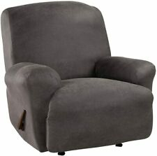 Sure fit Stretch vegan stretch Leather 1 Piece Recliner Slipcover Antique slate