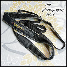 Original Thin Minolta Black Grey & Gold Webbing Camera strap