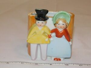 "Unbranded Boy & Girl Ceramic Planter Vase Made Japan 3 3/8"" X 2 7/8"" X 3 3/4"" ~"