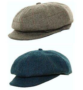 Ladies Herringbone Baker Boy wool Blend Tweed Cap Newsboy Hat  Flat Cap