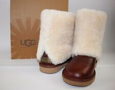 NIB UGG Size 7 Women's Chestnut 100% Leather Full Shearling Cuff PATTEN Boot