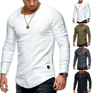 Men's Slim O-Neck Long Sleeve Tops Muscle  Basic Tee T-shirt Casual Tops