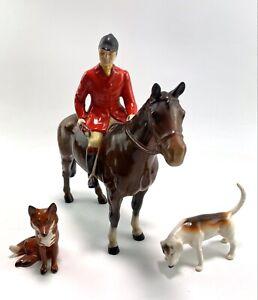 Vintage Beswick Huntsman On Standing Bay Foxhound Dog & Sitting Fox Figures