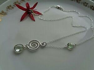 Halskette, Silber 925, mit grünem Amethyst an Spirale
