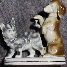 "Vintage Erphila Porcelain Dog and Cat Figurine 5 1/2"" Made in Germany Figure"