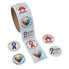 Autism Awareness STICKERS Puzzle Piece Ribbon Aspergers Lot of 200 pcs