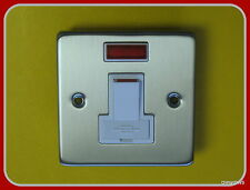 13a SWITCH FUSED SPUR FCU BRUSHED STAINLESS STEEL WHITE INSERT+NEON. Free Post.