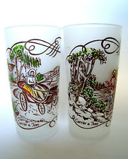 Royal Currier & Ives 2 Frosted Drinking Glasses Painted - Horse Buggy & Hunting