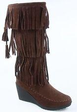 NEW Women's Fringe Zip Round Toe Moccasin Flat & Wedge Boots Shoes Size 5.5 - 10