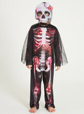 Girls Halloween Pink Skeleton  Costume Outfit with Mask Size 3-4 Years (NEW)