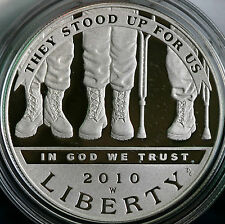 2010 W PROOF American Veterans Disabled 4 Life 90% Silver Dollar COIN ONLY DAV