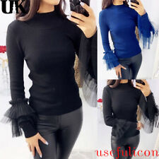 Womens Ruffle Frill Long Sleeve Knitted Jumper Ladies Sweater Slim Top Pullovers