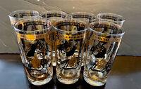 7 Vintage MCM Fred Press Gold White Trojan Horse Highball Tumblers Glasses 12Oz