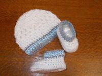 Handmade Crochet baby hat booties, Preemie, 0-3 & 3-6 mo by Rocky Mountain Marty