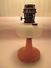 1937~~ALADDIN DIAMOND QUILT OIL LAMP~~WHITE MOONSTONE / ROSE MOONSTONE