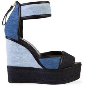 Pierre Hardy Trico Jeans Colorblock Platform Wedge sandals US 8.5 EXCELLENT