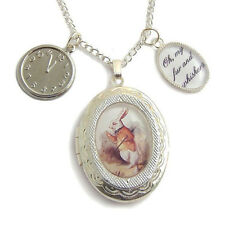 Alice in Wonderland necklace locket The White Rabbit charm silver fairytale